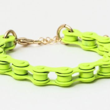 Bicycle Chain Bracelet Neon Electric Green Fluorescent Yellow BB36 Bike Retro Cycling Bangle Cyclist Fashion Jewelry