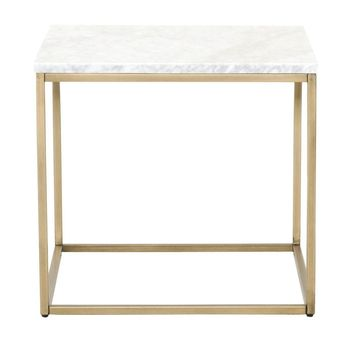 Carrera End Table White Marble / Brushed Gold