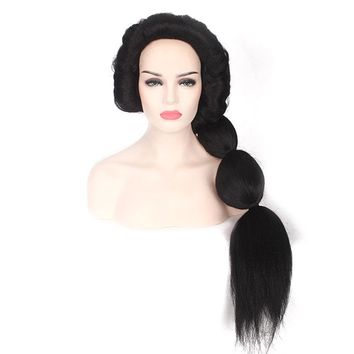Adult Princess Jasmine Aladdin Jasmine Cosplay 90cm Long Straight Black Fluffy Ponytail Halloween Cosplay Costume Accessories