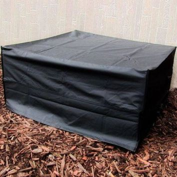 48 Inch Fire Pit Square Cover Water Proof - Black