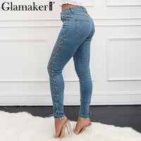 Glamaker Side lace up women jeans plus size Casual summer high wasit jeans denim bottom Female streetwear pencil jeans pants