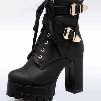 Goth Platform Lace Up Ankle Boots w/Double Buckle