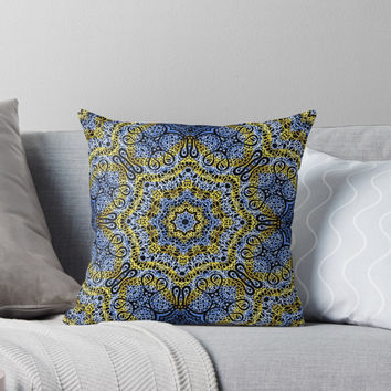 'Mehndi Ethnic Style G358' Throw Pillow by MEDUSA GraphicART