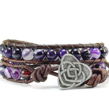 Leather Wrap Bracelet Purple Agate Gemstones Celtic Knot Beaded Jewelry