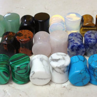 -ALL 10 PAIR- Stone Plugs Organic Double Flare Ear Gauges Body Jewelry (lot 1)