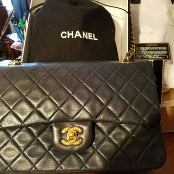 CHANEL MARINE BLUE LAMBSKIN CLASSIC FLAP 2.55 GOLD HARDWARE EXCELLENT CONDITION