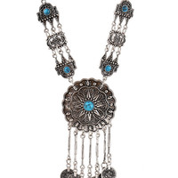 Blue Turquoise Ornate Gypsy Coin Necklace
