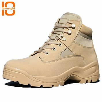 TENNEIGHT Military tactical Boots men special forces US low zipper combat boots waterproof outdoor soldier Climbing hiking boots
