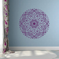Wall Decal Mandala - Removable Decals For Walls-  Zen Hippie Yoga Decal Boho Bohemian Bedroom Yoga Studio Decor Mandala Wall Sticker #100