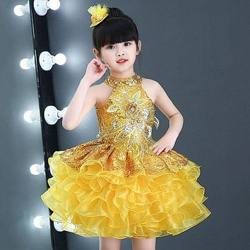 Toddler Girls' Ruffles Short Cupcake Pageant Cute Dresses Lavender Red Yellow Cheap Dance Costume Baby Girl Sequin Dress 1