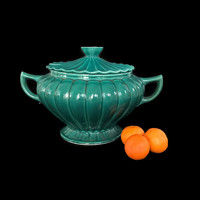 Vintage Soup Tureen California Pottery Teal Green Ceramic Large Footed Pot with Lid Soup Bowl Farmhouse Decor Mid Century Pottery