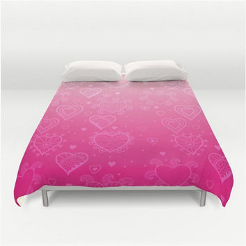 Pink Duvet Hearts Pink Ombre Light To Bright Pink Love Valentines Full Queen King Bed Spread