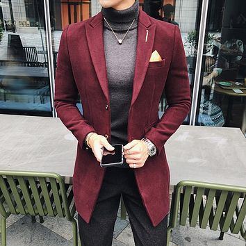 7 Solid Color Long Blazer Men Vintage Retro Slim Fit Blazer Hombre Casual Wool Blend Men Coat High Quality Designer Blazer
