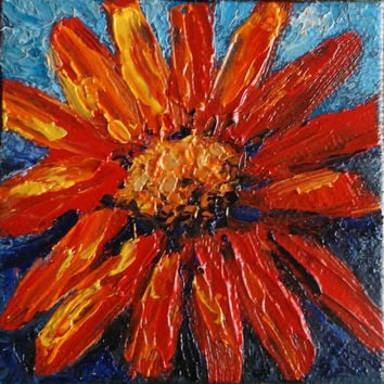 "Clearance - Red Orange Yellow Flower Original Mini Oil Painting 3""x 3"" READY to SHIP"