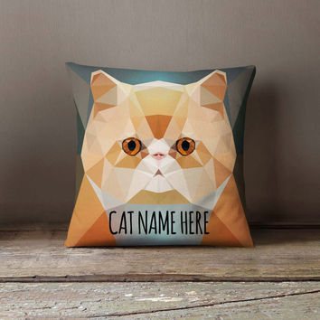 Personalized Geometric Persian Cat Pillowcase | Decorative Throw Pillow Cover | Cushion Case | Designer Pillow Case | Gift for Pets Lovers