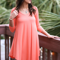 Never Let Go Coral V-Neck Quarter Sleeve Dress