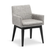 Chanel Coral Fabric Upholstered Ebony Dining Armchair
