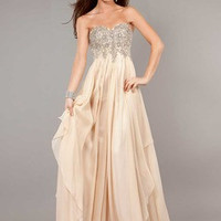 A-Line/Princess Strapless Sweetheart Sweep Train Chiffon Prom Dress With Ruffle Beading Appliques Lace