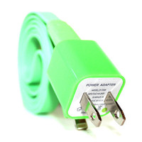 Green iPhone 5/5s/5c Charger - 1m/3ft iPhone 5/5s/5c Cable and Plug