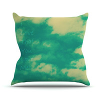 "Robin Dickinson ""I love that you love me"" Green Blue Throw Pillow"