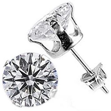 316L Stainless Surgical Steel Clear Round Cut CZ 4 Prong Classic Stud Earring