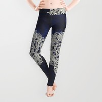 Cream Floral Moroccan Pattern on Deep Indigo Ink Leggings by Micklyn