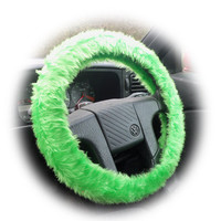 Bright Faux fur Lime Green fuzzy car steering wheel cover furry and fluffy