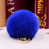 Fluffy 11 colors Rabbit Fur Pompom 8CM For Bags&Cars Charm Real Natural Fur Balls Genuine Fur Pom Poms Key Chain Fo-K005-blue