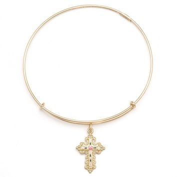 Alex and Ani Floral Cross Charm Bangle - 14kt Gold Filled