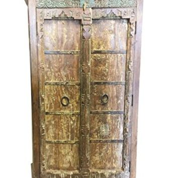 Antique Armoire Old Doors Rustic Furniture Iron Storage Cabinet Vintage Shabby Chic Decor