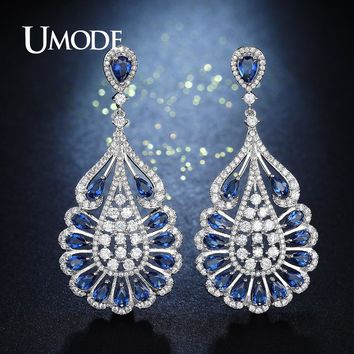 UMODE Big Water Drop Earrings for Women Blue Crystal Teardrop Vintage Bridal Chandelier Earrings Rhinestone Jewelry Gift AUE0275