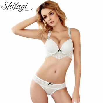 Shitagi New Intimates Women Push Up Embroidery Lace Bra and Briefs Deep V Sexy Bra Sets Hollow Out Back Bra Ladies Underwear