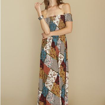 Aldridge Patchwork Maxi Dress | Threadsence