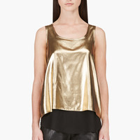 Altuzarra Gold Lame Layered Tank Top