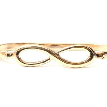 Infinity Symbol Palm Bracelet Gold Tone Eternity Sign BC27 Knuckle Band Hand Piece