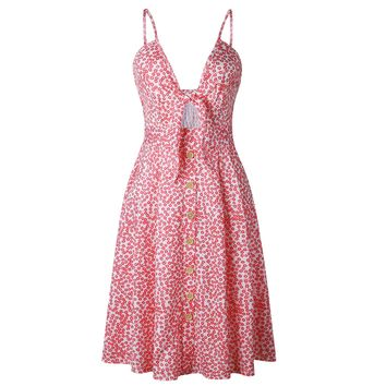 STYLEDOME Sexy Bow Backless Polka Dots Print Beach Strappy Dress for Women