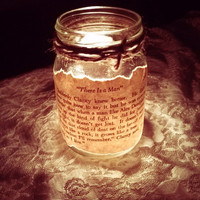 Antique Book Page Mason Jar Candle Holder-Wedding Decoration, Gifts, Home Decor