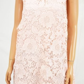 New Alfani Women's Scoop Neck Sleeveless Pink Lace Tunic Blouse Top Plus 16W