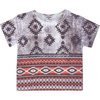 River Island Mini boys grey aztec print t-shirt