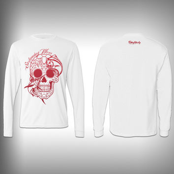 Red - Sugar Skull Mahi - Performance Shirt - Fishing Shirt