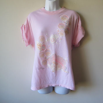 80s Glittery Pastel Pink Seashell T-Shirt -- Fairy Kei, Pastel Goth, Kawaii Mermaid Fashion Shirt!