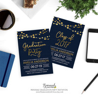 Elegant Graduation Party Printable, Printable Grad Party Invitation, Class of 2017 Graduation Invite, Modern Graduation Invitation, Lights