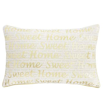 Home Sweet Home Gold Lumbar Pillow