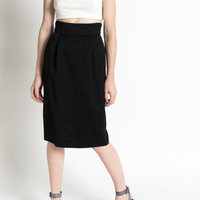 Vintage 90s Black High Waisted Fine Wool Pencil Skirt with Pockets | 2/4