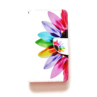 LG G4 Wallet Case Rainbow Flower For LG G4 Floral Pattern LG G4 Wallet Tie Dye Girly Cute L685