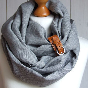 Chunky LINEN Infinity Scarf tube scarf with cuff , pure linen scarf