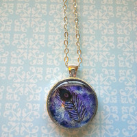 Blue peacock feather glass dome necklace for tween or teen girl