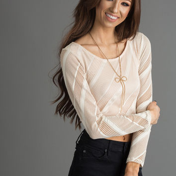 Mimi Longsleeve Cream Mesh Top