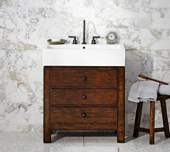Barn Sink Dimensions : MASON SINGLE SINK CONSOLE - RUSTIC from Pottery Barn