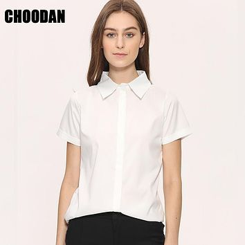 Women Blouse Shirt Short Sleeve Summer 2017 New Fashion Korean Style Preppy White Women Tops Ladies Office Clothing Femme XXXL